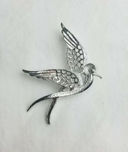 Vintage Sarah Coventry silver tone bird dove brooch pin signed - $15.84