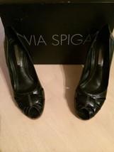Via Spiga Women's Shoes Papa Genuine Black Leather Padded Heels Shoe Size 7 - $37.62