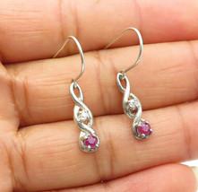 925 Sterling Silver - Vintage Petite Ruby & Topaz Infinity Drop Earrings... - $23.85
