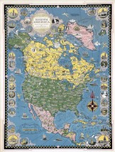 1942 PICTORIAL map North America vignettes structures ships scenery POST... - $15.84