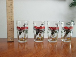 4x Vintage Hazel Atlas Pheasant Game Bird Hunting Drinking Juice Glass 3... - $39.99