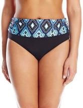 NWT Kenneth Cole Black Ocean Blue Fold Over Bikini Swim Bottom Plus 1X ... - $14.99