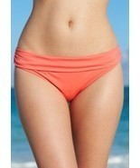 NWT Kenneth Cole Hot Coral HCR Hipster Banded Swimwear Bikini Bottom S M L - $10.99
