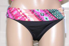 NWT Kenneth Cole Black Pink Fold Over Ruched Sides Bikini Swim Bottom S... - $7.99