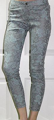 NEW HUE Floral Metallic Super Smooth Denim Skimmer Aqua Sky Leggings XS XSmall  - $22.27