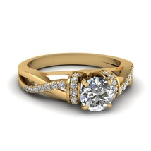 Round Cut Cubic Zirconia Side Stone Sleek Twist Ring 18k Yellow Gold Plated - $86.99