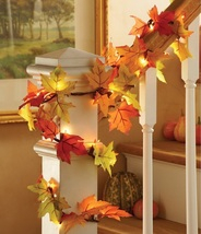 Thanksgiving Decorations Fall Harvest Leaves Autumn Garland Lighted Deco... - $39.99