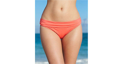 NWT Kenneth Cole Hot Coral HCR Hipster Banded Swimwear Bikini Bottom S M L