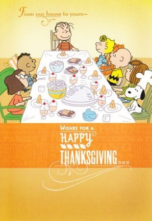 "Charlie Brown and Friends Peanuts Thanksgiving Card ""From Our House ..."""