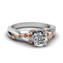 Round Cut CZ Side Stone Sleek Twist Ring W/ Orange Sapphire 18k White Gold Fn - $86.99