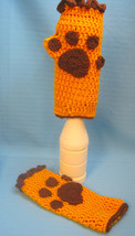 Fingerless Gloves Mittens Puppy Dog Paw Print Brown/Gold Handmade Croche... - $15.00