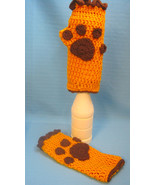 Fingerless Gloves Mittens Puppy Dog Paw Print Brown/Gold Handmade Croche... - $15.00