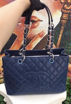 AUTHENTIC CHANEL QUILTED CAVIAR GST GRAND SHOPPING TOTE BAG BLUE SHW  image 6