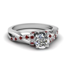 Round Cut CZ Side Stone Sleek Twist Ring W/ Red Ruby 18k White Gold Fn - $86.99