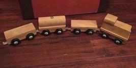 Vintage Wooden Creative Playthings Train Set 4 Pc Lot Kids Toy Wheels Ca... - $34.65