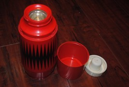 Vintage Thermo Serv Red/Black Midcentury Travel Mug Glass Interior Rare ... - $44.55