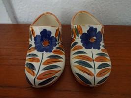 Vintage Antique Porcelain Holland Dutch Clogs Shoes Pair Floral Occupied... - $49.49
