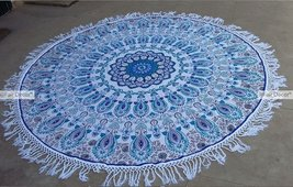 Blue and Steel Blue Floral Mandala Round Roundi... - $19.60