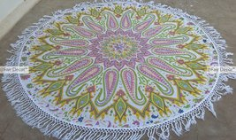 Pale Violet Red Green Paisley Mandala Round Rou... - $19.60