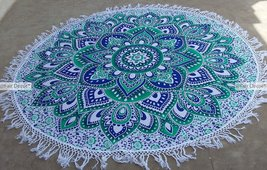 Blue Green Floral Ombre Mandala Round Roundie B... - $19.60