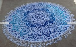 Blue and Sky Blue Floral Ombre Mandala Round Ro... - $19.60