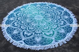 Steel Blue Light Green Floral Mandala Round Rou... - $19.60