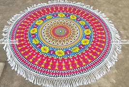 Pink Red Yellow Floral Mandala Round Roundie Be... - $19.60