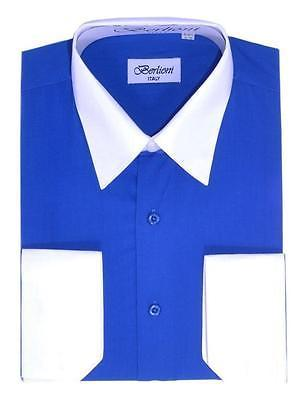 NEW BERLIONI ITALY MEN'S WHITE COLLAR & CUFFS TWO TONE DRESS SHIRT ROYAL BLUE