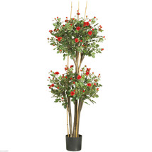 5' Mini Rose Silk Tree Decor  Nearly Natural silk - $142.00