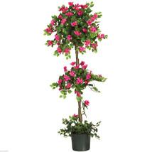5' Mini Bougainvillea Topiary Silk Tree Patio Plant Decor  Nearly Natural - $88.88