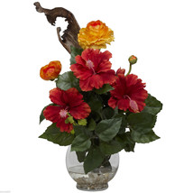 Hibiscus & Ranunculus with Fluted Bowl Silk Flower Arrangement nearly na... - €41,03 EUR