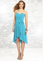 Dessy Social Bridesmaids # 8131..Knee length, Straplesss dress..Turquois... - $59.39