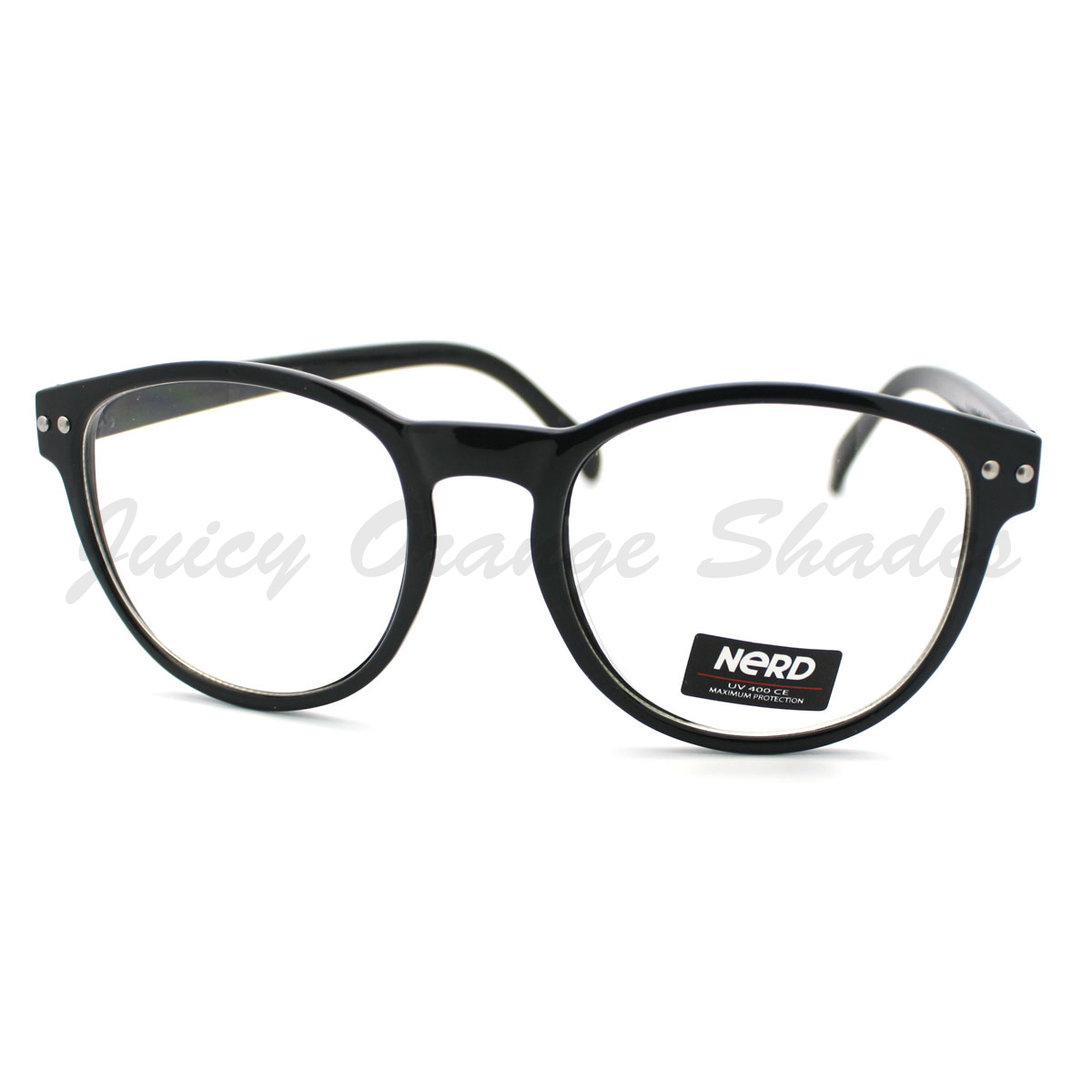 Round Keyhole Eyeglasses Frame Unisex Clear Lens Nerd Glasses (3 Colors)