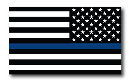 Thin Blue Line American Flag Magnets 2 Pack 4x6 inch Decals for Car or Fridge