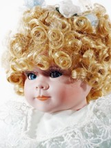 """Doll Blond Curly Hair Porcelain Hand Painted 15"""" Inches (B16B27) - $48.99"""
