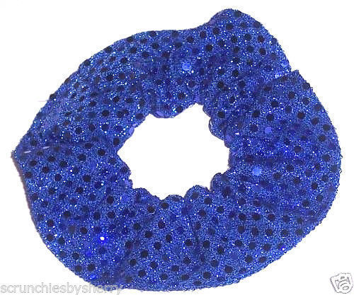 Royal Blue Sequin Dots Hair Scrunchie Scrunchies by Sherry Confetti Dot - $6.99