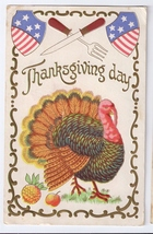 Patriotic Thanksgiving Turkey Knife Fork Embossed Gilded 1908 Vintage Po... - $5.90