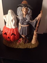 Halloween Pumpkin Witch Lighted Figure. Scary - $21.20