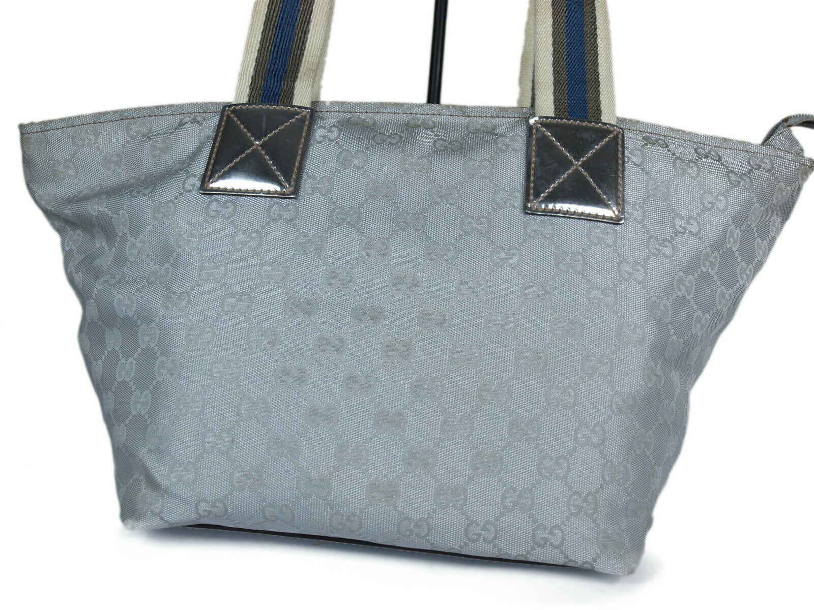 Auth GUCCI GG Pattern Canvas Leather Silver Shoulder Bag GS2095