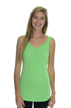 S NWT Authentic Juicy Couture Nice Green Ribbed Button Front Henley Tank... - $57.22