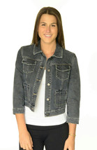 XS Tahari Stretch Denim Button Front Jean Jacket Pick Stitch Embroidery ... - $33.65
