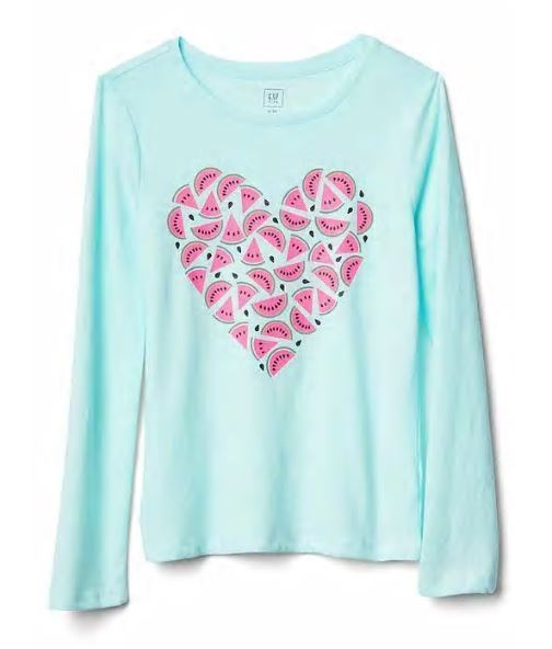 Gap Kids Girls T-shirt Top 4 5 Graphic Green Gray Navy Blue Long Sleeve Crew New image 6