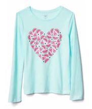 Gap Kids Girls T-shirt Top 4 5 Graphic Green Gray Navy Blue Long Sleeve Crew New image 6