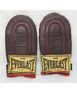 Vintage Everlast Speed Bag Sparring Leather Gloves Burgundy Metal Palm G... - $19.99