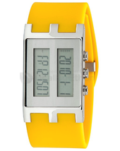 EOS Unisex Binary Nu Digital LCD Watch in Yellow and Silver W120SYELSIL NIB