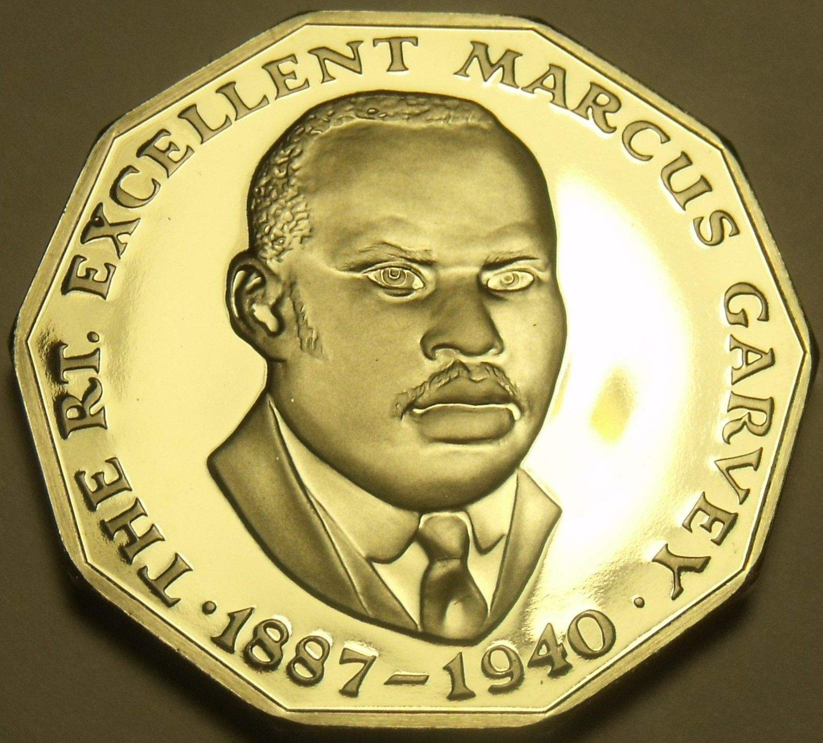 Extremely Rare Proof Jamaica 1981 50 Cents~1,577 Minted~Marcus Garvey~Free Ship