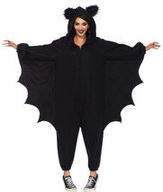 Leg Avenue Bat Kiragumi Black Fleece Funsie Costume One Size - $69.25