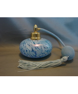 Vintage Blue Swirl Glass Refillable Perfume Atomizer Bottle - $16.90
