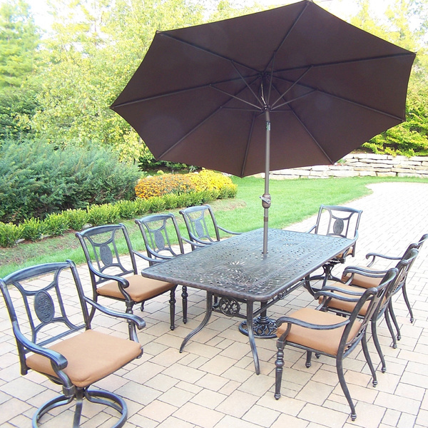 11 Piece Dining Set With Umbrella Outdoor Metal Patio Set Garden Furniture Se