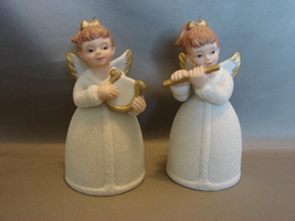 HOMCO Porcelain Christmas Bells: Angels with Musical Instruments Number 8800 - $4.99